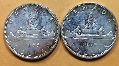 Lot of 2 MS65 1965 Canadian Silver Dollar Coins $1 Canada Collection