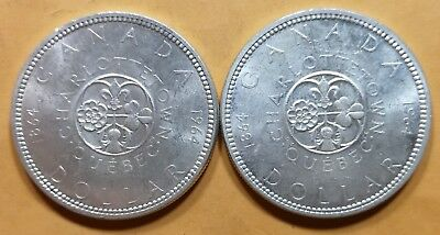 Lot of 2 MS65 1964 Canadian Silver Dollar Coins $1 Canada Collection