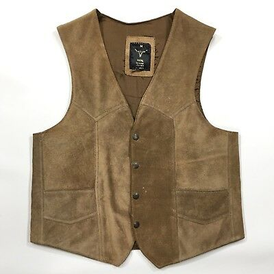 Vintage Western Suede Leather Vest Men's Medium Snap Front Made in Mexico
