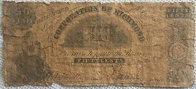 1861 Civil War 50c Corporation of Richmond VA Confederate Bank Note Currency