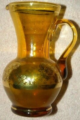 Antique Hand Blown Amber Glass Gold Filigree Design Creamer Small Pitcher Vase