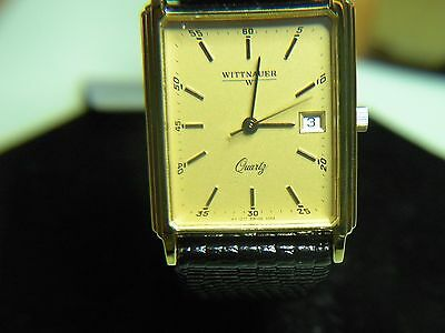 "Mens Rare & Vintage Wittnauer ""continental"" Quartz Gold Watch W/date A Must See!"