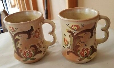 2 FRANKOMA Swedish Folk Art Pottery Hand Painted by Alphina Mahle Coffee Mugs