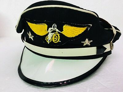 Buco Motorcycle Riding Captains Hat Winged Rider Chrome Stars 1940s 50s Harley
