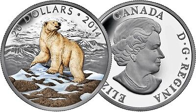 Iconic Polar Bear - 2014 Canada $20 Fine Silver Coin - Coloured