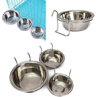 Stainless Steel Hanging Bowl Feeding Bowl Pet Bird Dog Food Water Cage Cup Hot