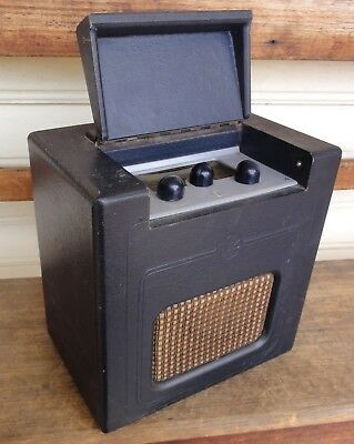 LOVELY c1940 PYE 'BABY Q' PORTABLE RADIO. LEATHERETTE - ALL IN EC. WORKING NOW!!
