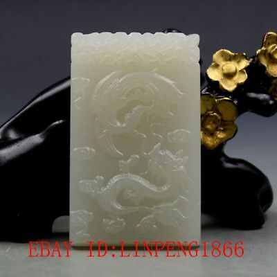 Chinese Natural Hetian Jade Hand-carved Dragon & Phoenix Pendants