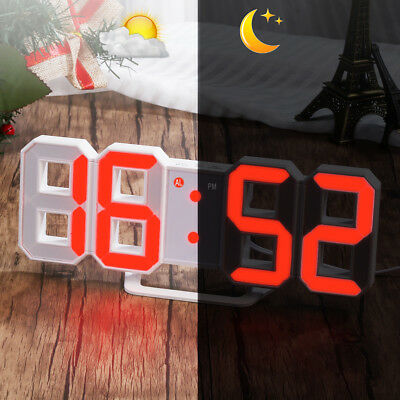 LED Digital 3D Table Wall Clock with 3 levels Brightness Alarm Snooze Clock