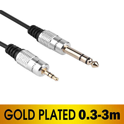 6.35mm to 3.5mm Auxiliary Aux Mixer Cable Gold Plated Male Jack Aux Audio Cable