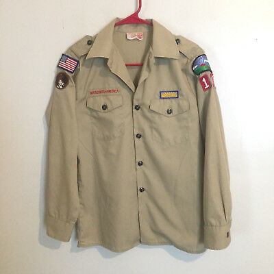 VTG Boy Scouts of America BSA Tan Long Sleeve Uniform Shirt w/ Badges Size L 16