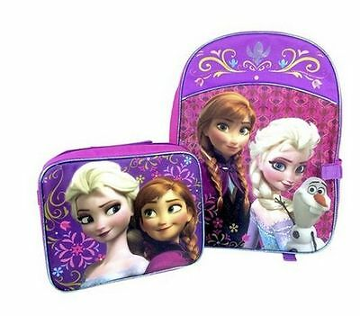 Girl's Disney Princess Frozen Ana Elsa Backpack with Attachable Lunch Box Kit **
