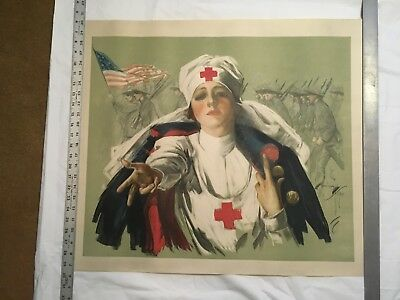 Vintage Original WW1 Poster American Red Cross Lend A helping Hand 1918