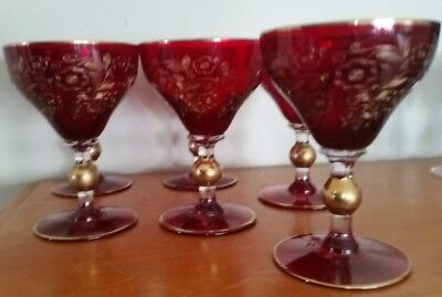 Stunning Antique Etched Wine Glasses