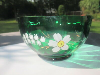 Victorian Emerald Green Glass Sugar Finger Bowl Enamel Lily Of The Valley Cosmos