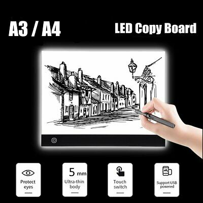 LED Tracing Light Box Board Art Tattoo A3 A4 Drawing Copy Pad Table+ USB Cable