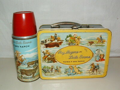 1955 TIN-LITHO ROY ROGERS & DALE EVENS LUNCHBOX and THERMOS COWHIDE