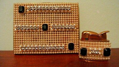 Vtg/Antique Rhinestone and Pearl Cigarette Case & Matching Lighter Evans
