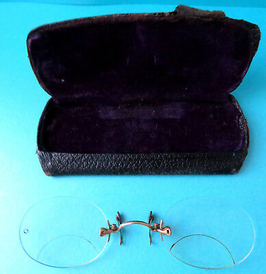ANTIQUE Bi FOCAL RIMLESS PINCE NEZ(PINCH ON THE NOSES) EYE GLASSES.,CASED