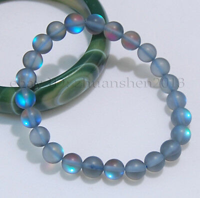 8MM Real Gray Gleamy Rainbow Moonstone Round Beads Stretchy Bangle Bracelet AAA