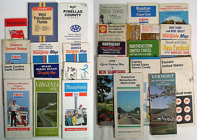 Lot Of 26 Highway Road Maps 1970's & 1980's North & Southeast