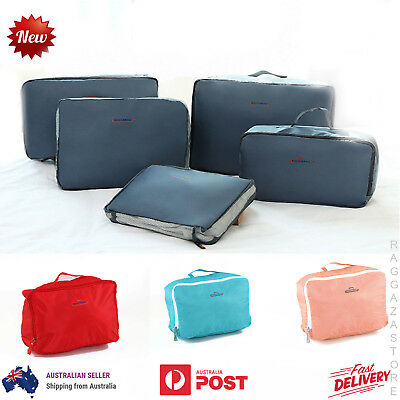 5pcs Travel Bags Pouch Packing Cube Suitcase Clothes Storage Luggage Organiser