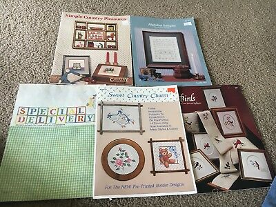 Lot of 5 Vintage Cross Stitch Pattern books, Alphabet Sampler, Sweet Country Etc