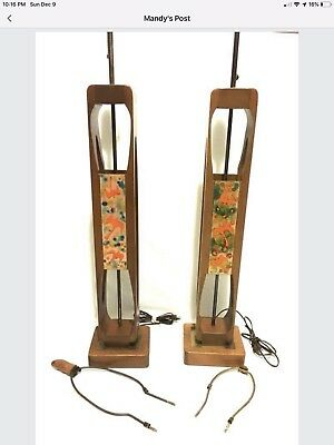 Pair MODELINE Teak Enamel on Copper Table Lamp Mid-Century Danish Modern Retro