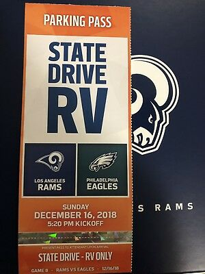 Rams Vs Eagles RV Or Buss Parking Pass