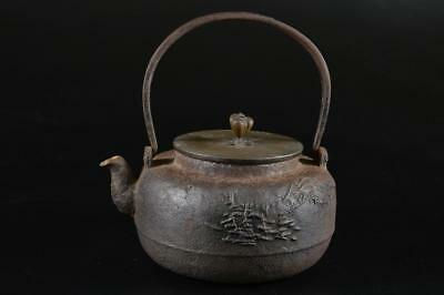 G1435: Japanese XF Old Iron TEA KETTLE Teapot Tetsubin Silver inlay handle