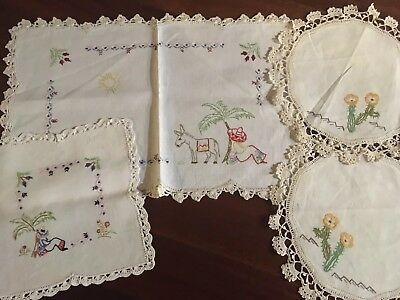 Lot of 4 Vintage Linen Mexican Theme Hand Embroidered Doilies Craft or Use