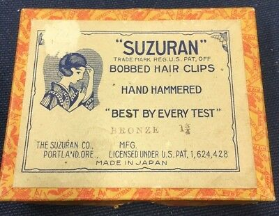 "Vtg SUZURAN Bobbed Hair Clips - Hand Hammered - Bronze 1-3/4"" - 10 Packs in Box"