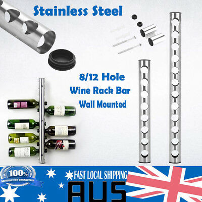 8/12 Bottle Hole Stainless Steel Wall Mounted Kitchen Bar Wine Rack Holder Stand