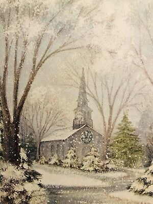 Vintage 60s Christmas Card~Snowy Church in the Woods~Beautiful Artwork