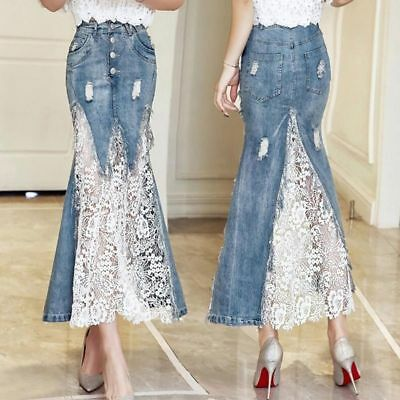 e5a5155d39 Fashion Women s Denim Lace Mermaid Skirts Summer High Waist Jean Long Skirts