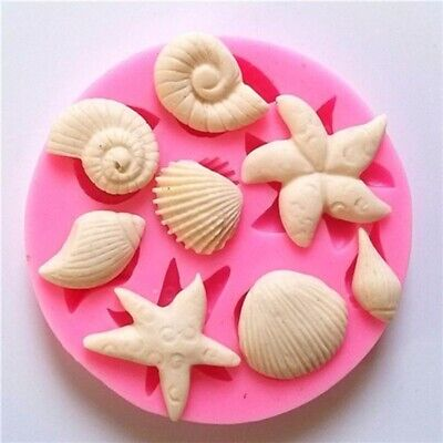 Silicone 3D Starfish Sea Shells Mould Fondant Cake Chocolate Mold Decor Tool Hot