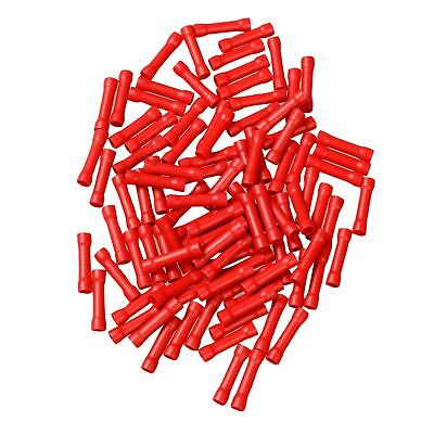 100X 22-18 Gauge AWG Ga Wire Butt Connectors Red Car Radio Terminals