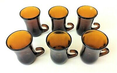 Vintage Set 6 Used Small Amber Color Single Shot Cups Glasses Drink Ware Old