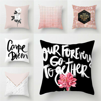 Simple Geometric Printed Pink Polyester Throw Pillow Cases Sofa Cushion Cover