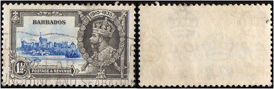 Barbados. 1935 King George V of United Kingdom - Silver Jubilee. 1 1/2p. Cancell