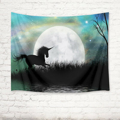 Fantasy Unicorn Fairytale Moonscape Tapestry Wall Hanging Bedroom Living Room