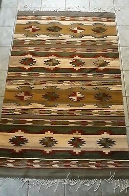 Vintage Native American Indian Hand  Woven  Rug Carpet 4' X 6'.