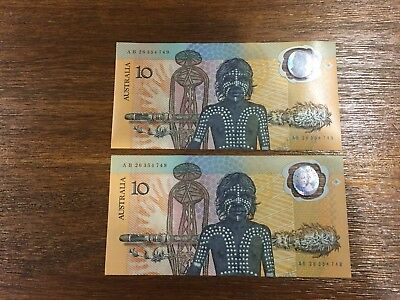 1988 Bicentenary Polymer Commemorative $10 Australian Banknote Consecutive Pair