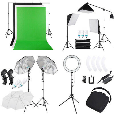 Photography Photo Soft Box LED Ring Light Tent Kit Cube Backdrops Studio Stand