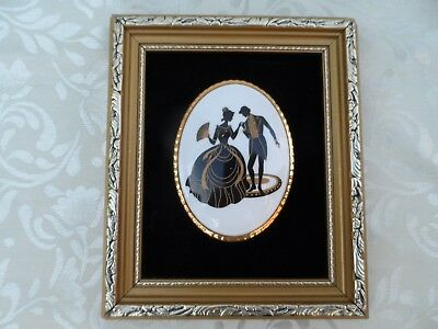 Staffordshire fine bone china miniature  wall picture Hand made in England