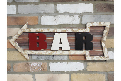 Wall Plaque Bar Sign Arrow Shape Vintage Style Rustic Man Cave Wood Hanging 66cm