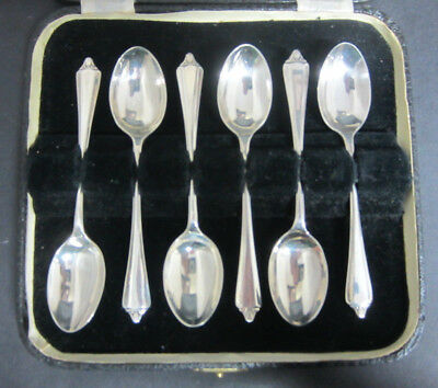 6 Antique Solid Silver Dubarry Variant Pattern Coffee Spoons - Sheffield 1940