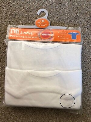 Mothercare Pack Of 2 Boys Long Sleeved Thermal Vests 18-24 Months