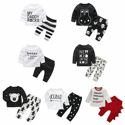 2pcs Baby Kids Boys Clothes Set Letter Long Sleeve T-shirt Pants Cotton Outfit