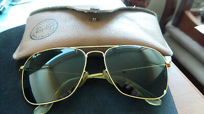 ca194c868a4a73 Vintage 70s Ray Ban USA B L CARAVAN Gold Aviator Square 58 16 mm Sunglasses